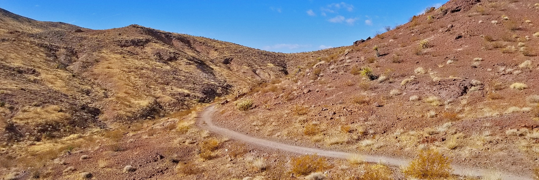 Rounding the Canyon Toward Anthem Area   McCullough Hills Trail in Sloan Canyon National Conservation Area, Nevada