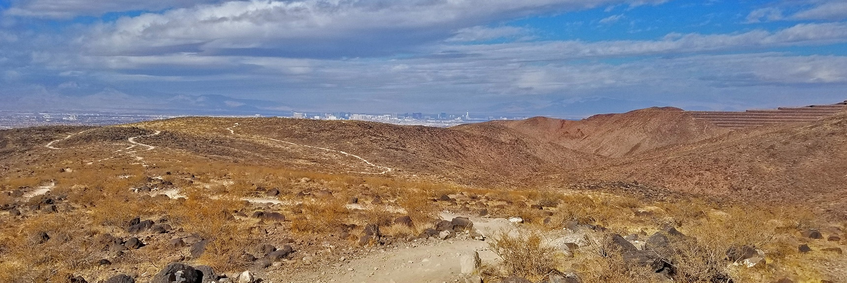 Network of Trails in the Hills Above Anthem and the Las Vegas Valley   McCullough Hills Trail in Sloan Canyon National Conservation Area, Nevada