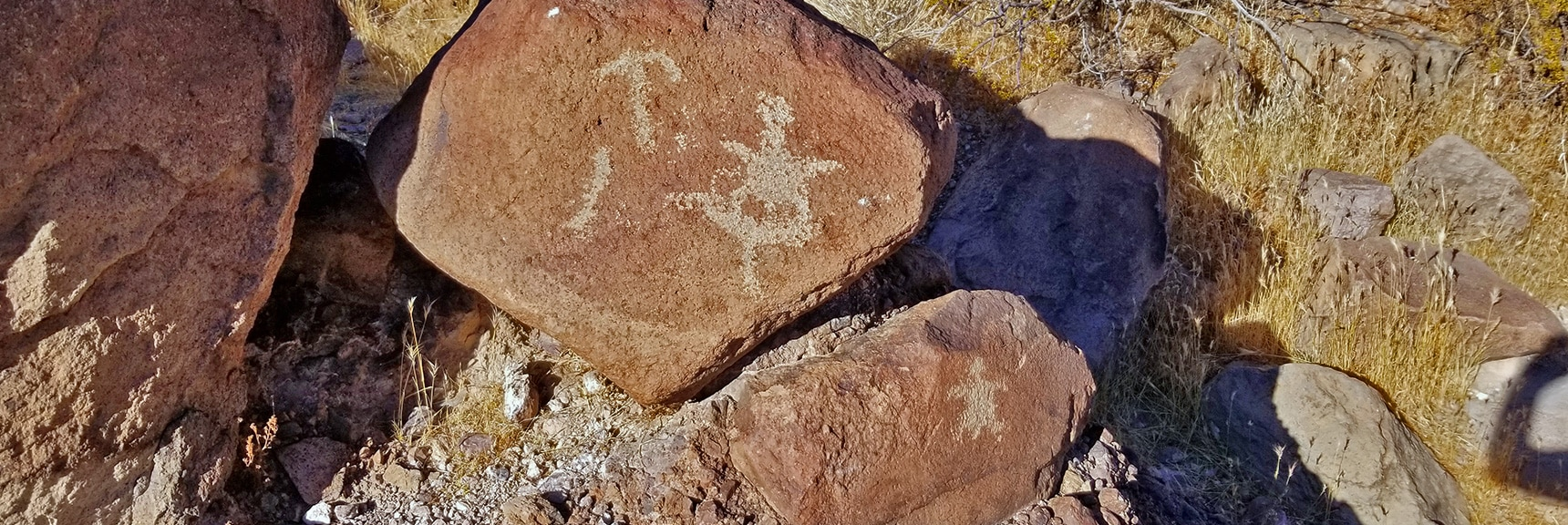 Figure Appears to Have Successfully Accomplished a Summit in Petroglyph Canyon Area | Petroglyph Canyon | Sloan Canyon National Conservation Area, Nevada