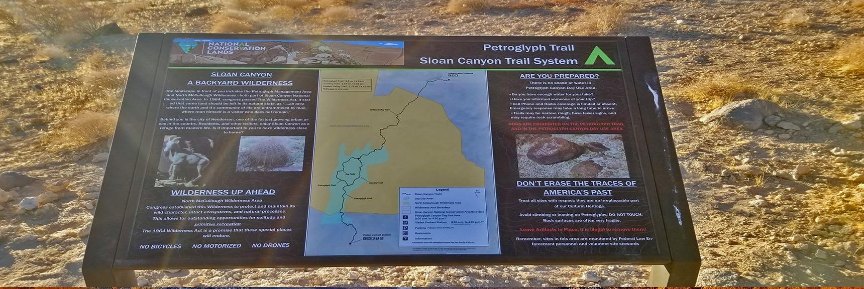 Interpretive Sign at Petroglyph Canyon Trailhead | Petroglyph Canyon | Sloan Canyon National Conservation Area, Nevada