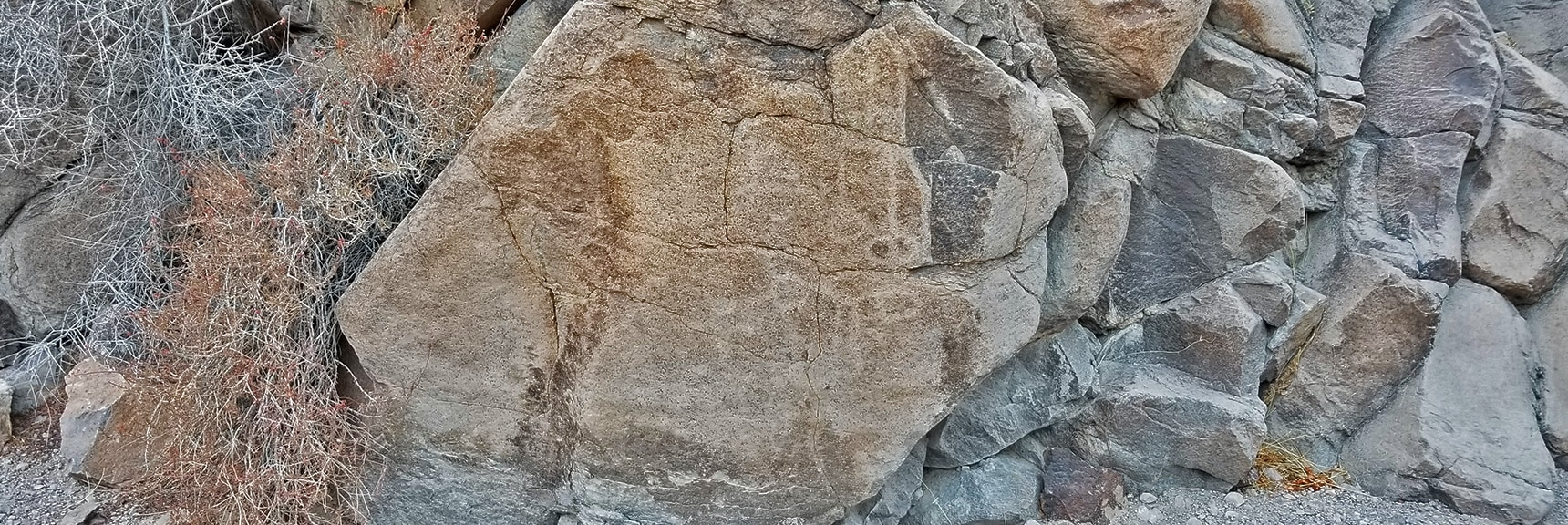 Looks Like a Welcome Sign to the Petroglyph Area Right Before the Huge Dry Waterfall | Petroglyph Canyon | Sloan Canyon National Conservation Area, Nevada