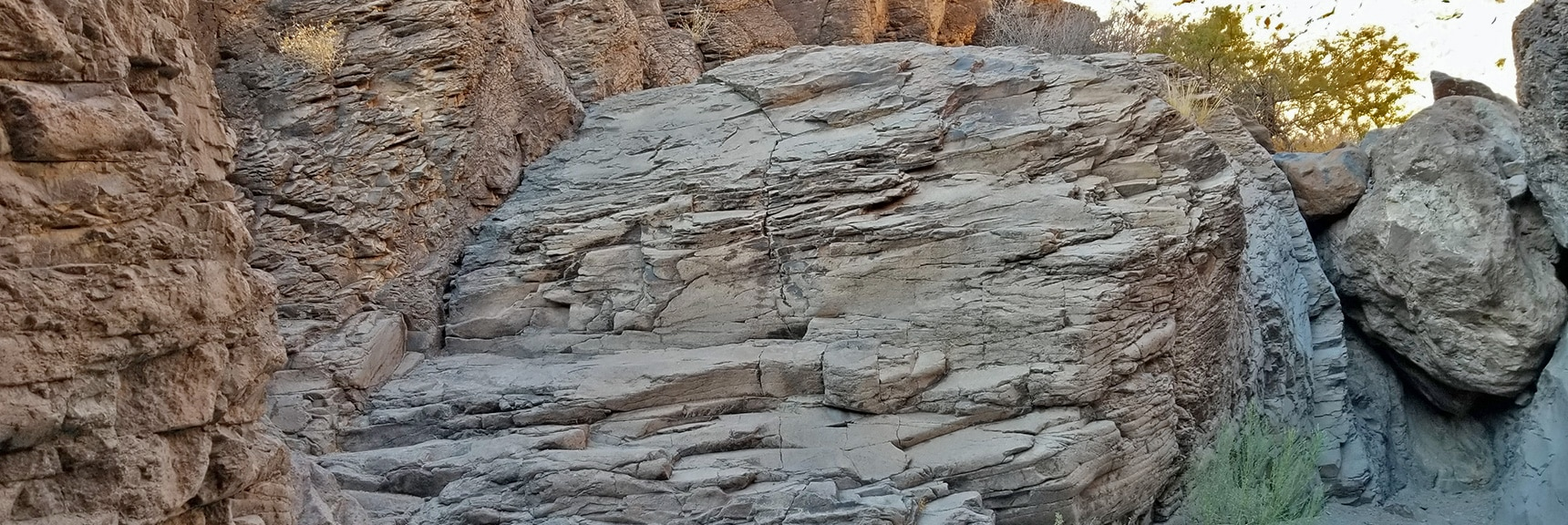 Huge Dry Waterfall Barrier Before Main Petroglyph Area | Petroglyph Canyon | Sloan Canyon National Conservation Area, Nevada