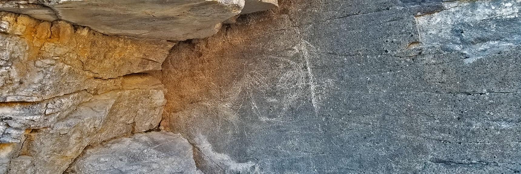 First Petroglyph Appears to Be Modern Graffiti. | Petroglyph Canyon | Sloan Canyon National Conservation Area, Nevada