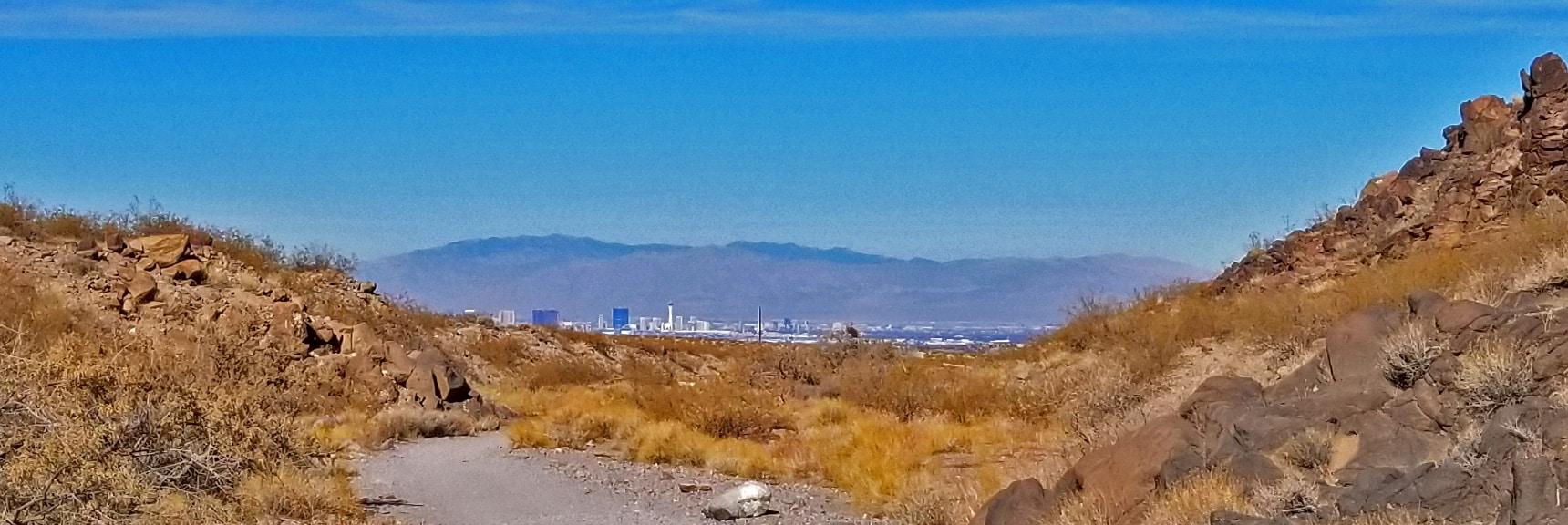 Las Vegas Strip Viewed from Lower Petroglyph Canyon | Petroglyph Canyon | Sloan Canyon National Conservation Area, Nevada