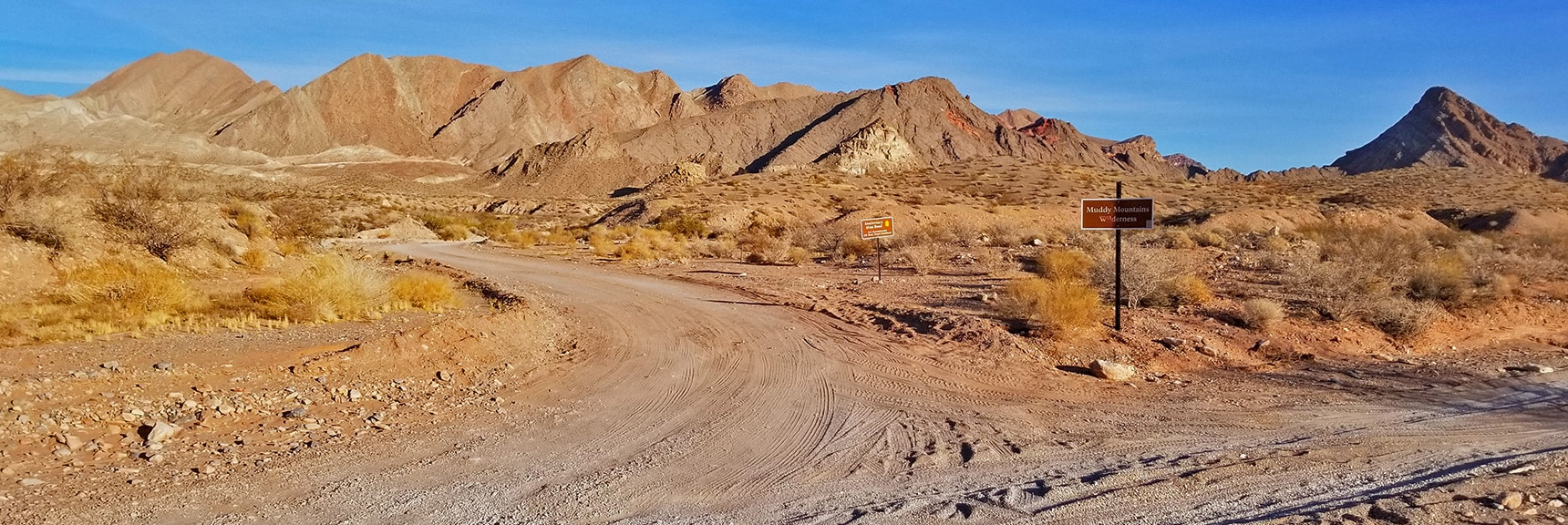1/8th Mile Up the Road Anniversary Mine Rd Splits to the Left   Anniversary Narrows   Muddy Mountains Wilderness, Nevada