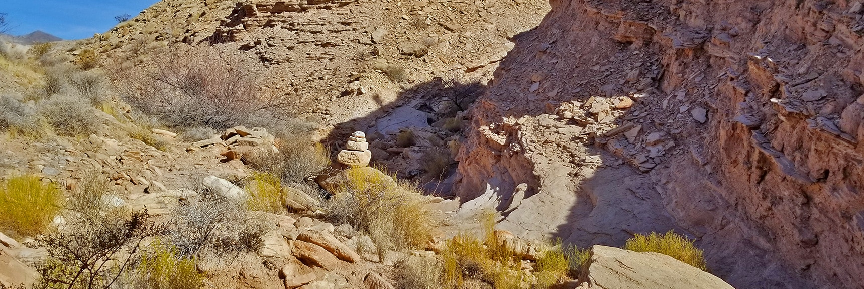 Navigating a Series of Narrow Washes to the Right Guided by Cairns   Anniversary Narrows   Muddy Mountains Wilderness, Nevada