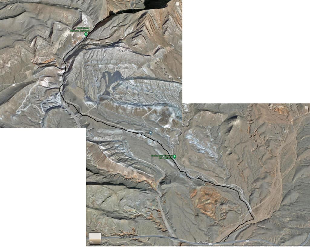 Anniversary Narrows Approach Map, Muddy Mountains Wilderness, Nevada