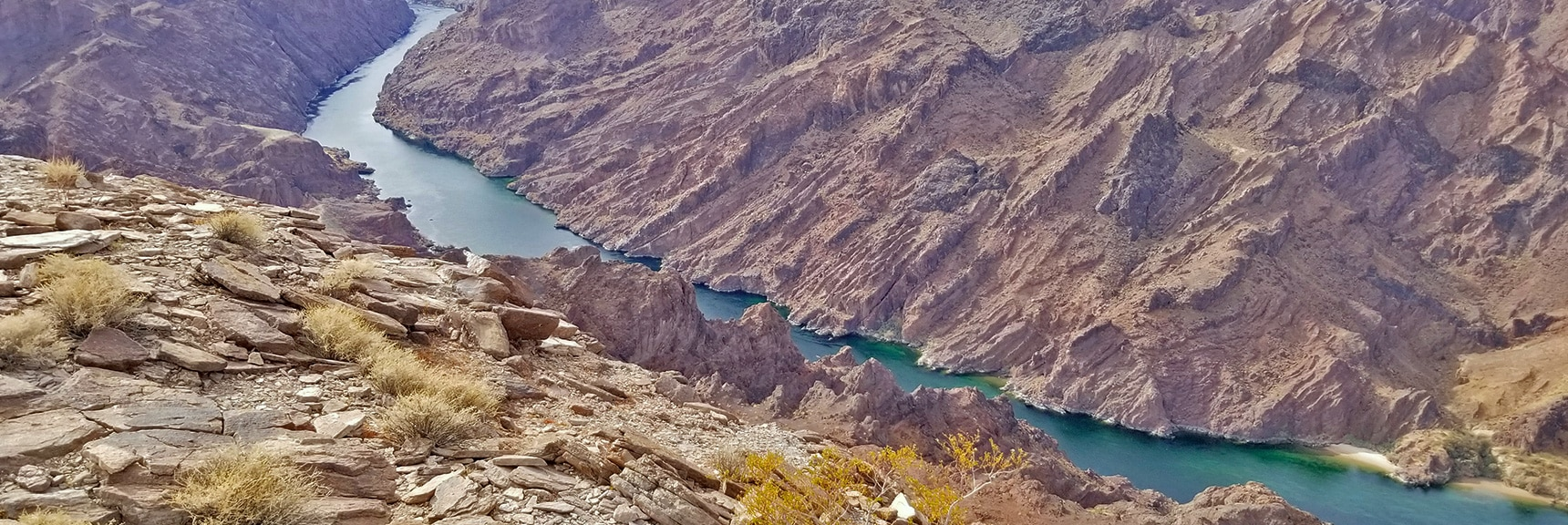 Southern View of Colorado River from Overlook | Arizona Hot Spring | Liberty Bell Arch | Lake Mead National Recreation Area, Arizona