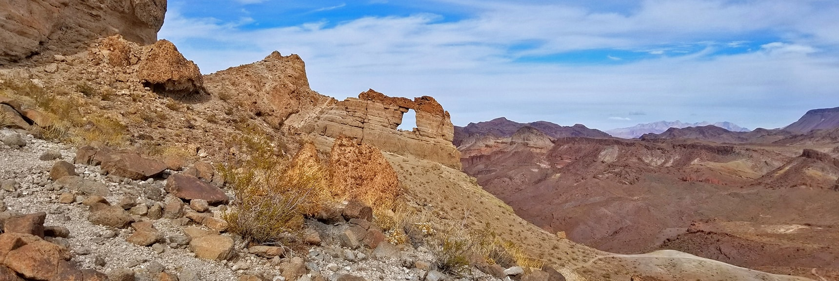 Liberty Bell Arch. Muddy Mountains in Far Distance to Right. | Arizona Hot Spring | Liberty Bell Arch | Lake Mead National Recreation Area, Arizona