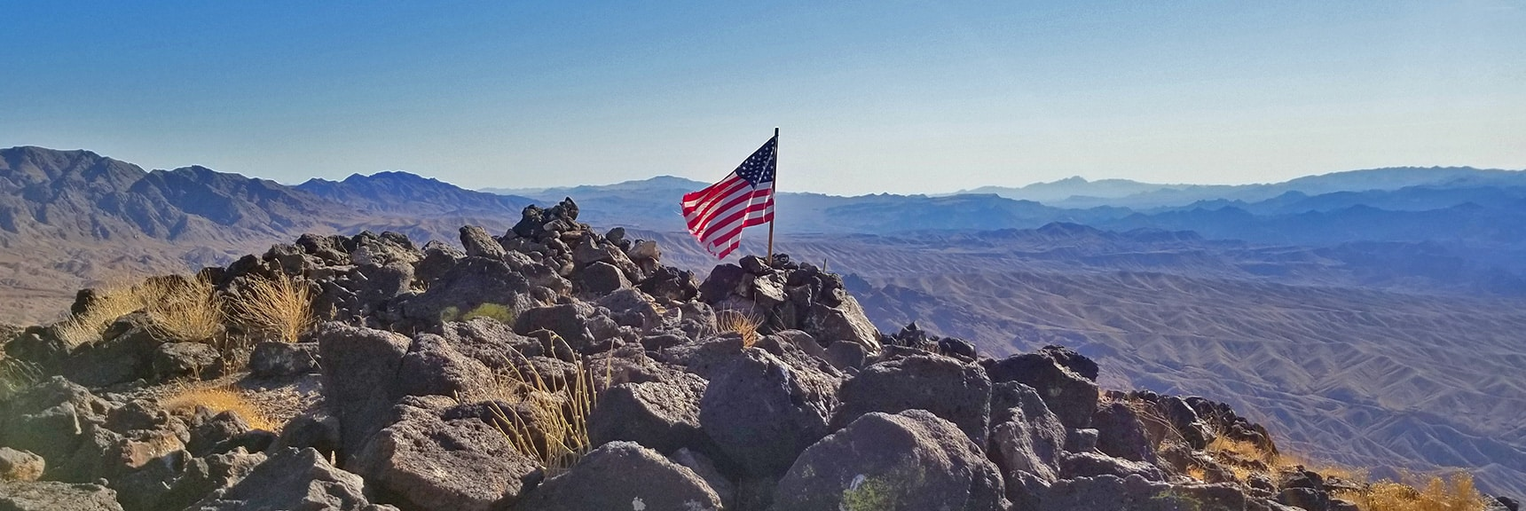 Flag Waving in the Wind on Fortification Hill Summit   Fortification Hill   Lake Mead National Recreation Area, Arizona