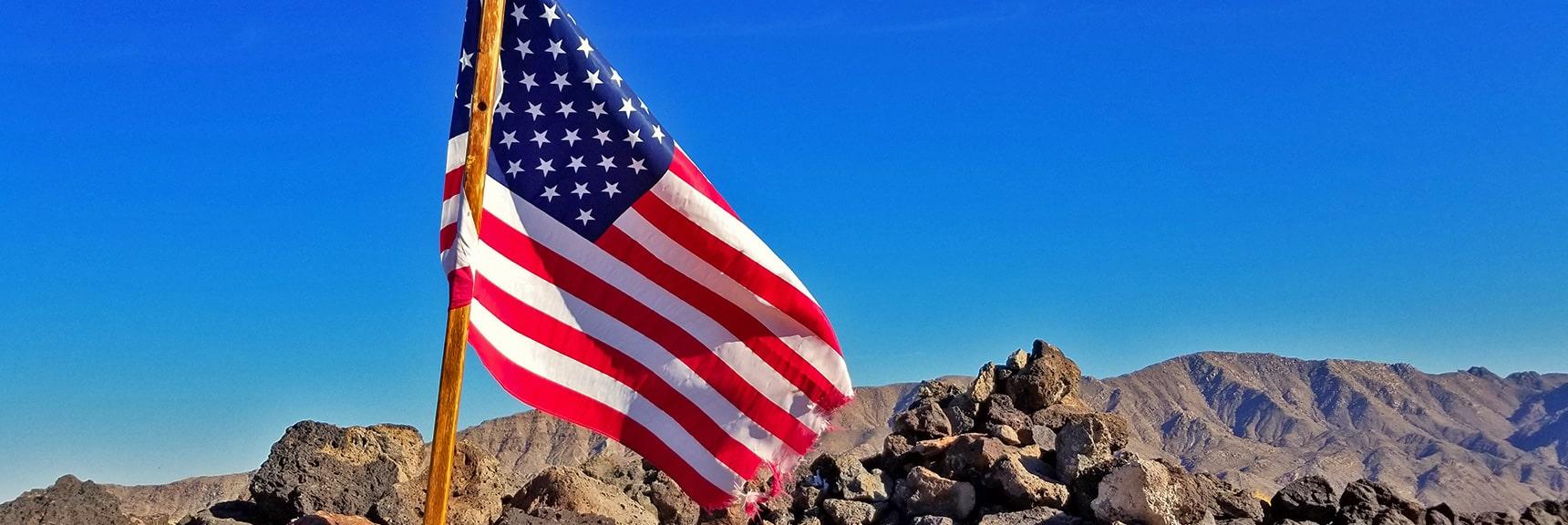 Wind Torn Flag on Fortification Hill Summit   Fortification Hill   Lake Mead National Recreation Area, Arizona