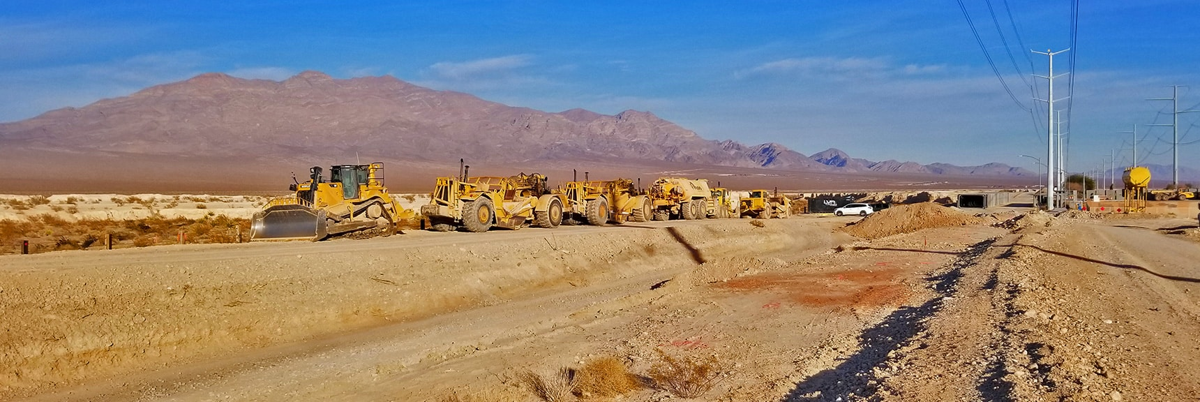 Construction on Moccasin At the Tule Springs Fossil Beds Area. Gass Peak in Background | Snapshot of Las Vegas Northern Growth Edge on January 3, 2021