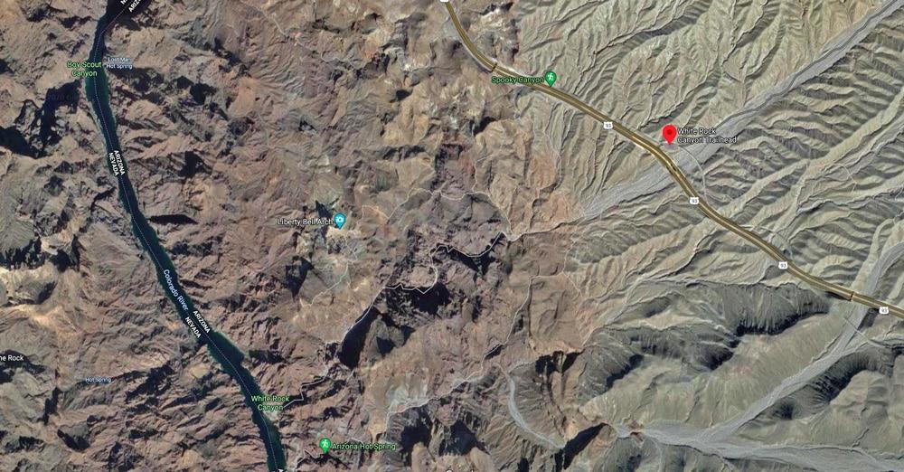 Map to White Rock Canyon Trailhead for Arizona Hot Spring | Arizona Hot Spring, Lake Mead National Recreation Area, Arizona