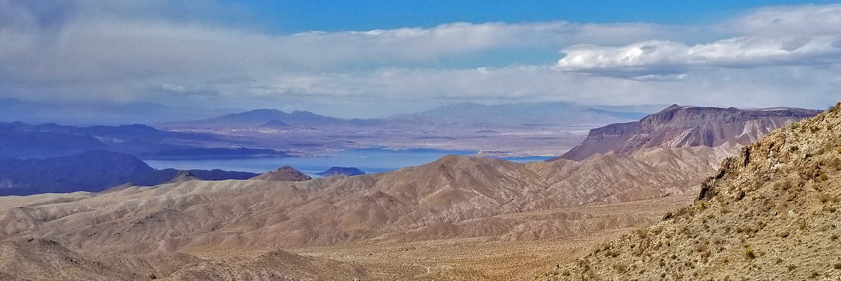 Higher View of Lake Mead, Frenchman Mt., Gass Peak, Sheep Range and Fortification Hill | Mt Wilson, Black Mountains, Arizona, Lake Mead National Recreation Area