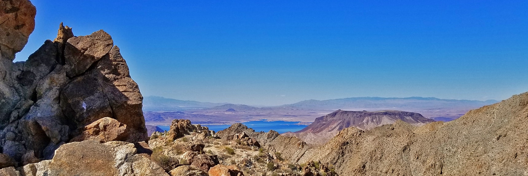Lake Mead and Frenchman Mountain from Mt. Wilson Western Approach Ridge | Mt Wilson, Black Mountains, Arizona, Lake Mead National Recreation Area