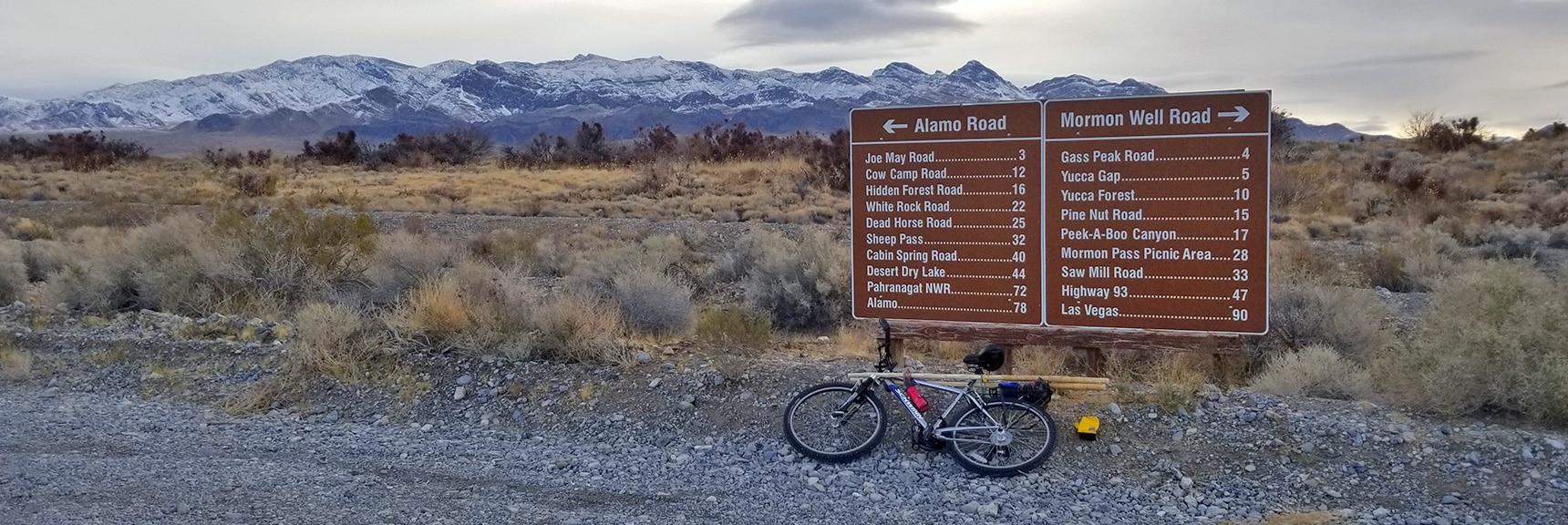 Adventure Begins on Alamo Road. Points of Interest on Sign.   Cow Camp Road   Sheep Range   Desert National Wildlife Refuge, Nevada