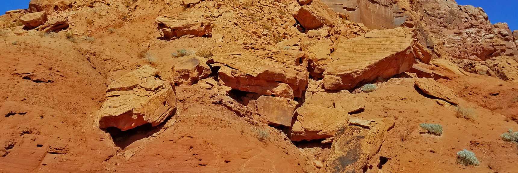 House-Sized Chunks of Red Rock Fallen from the Cliffs Above   Northern Bowl of Fire   Lake Mead National Recreation Area, Nevada