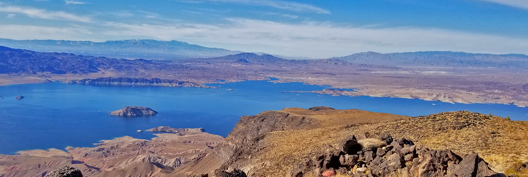 Lave Butte from Fortification Hill Summit, Frenchman Mountain in Background | Lava Butte | Lake Mead National Recreation Area, Nevada |