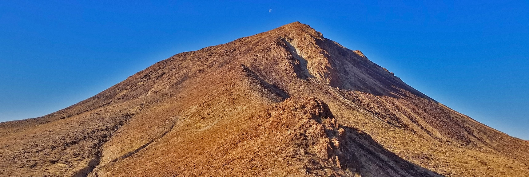 Final Approach on the Northeast Side of Lava Butte. Setting Moon Visible Above. | Lava Butte | Lake Mead National Recreation Area, Nevada