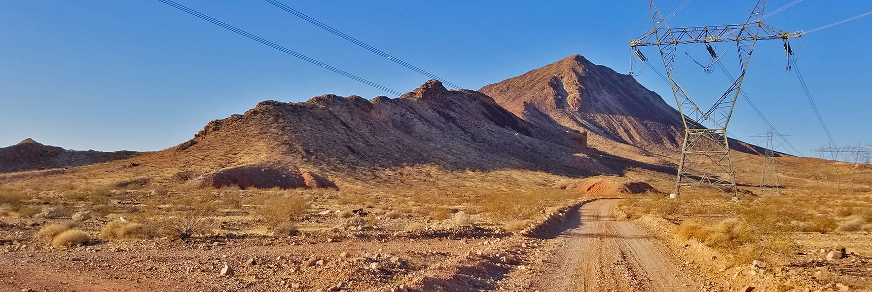 Heading Off Road Here to Skirt the Left Side of This Approach Ridge, Leaving the Power Lines Behind! | Lava Butte | Lake Mead National Recreation Area, Nevada