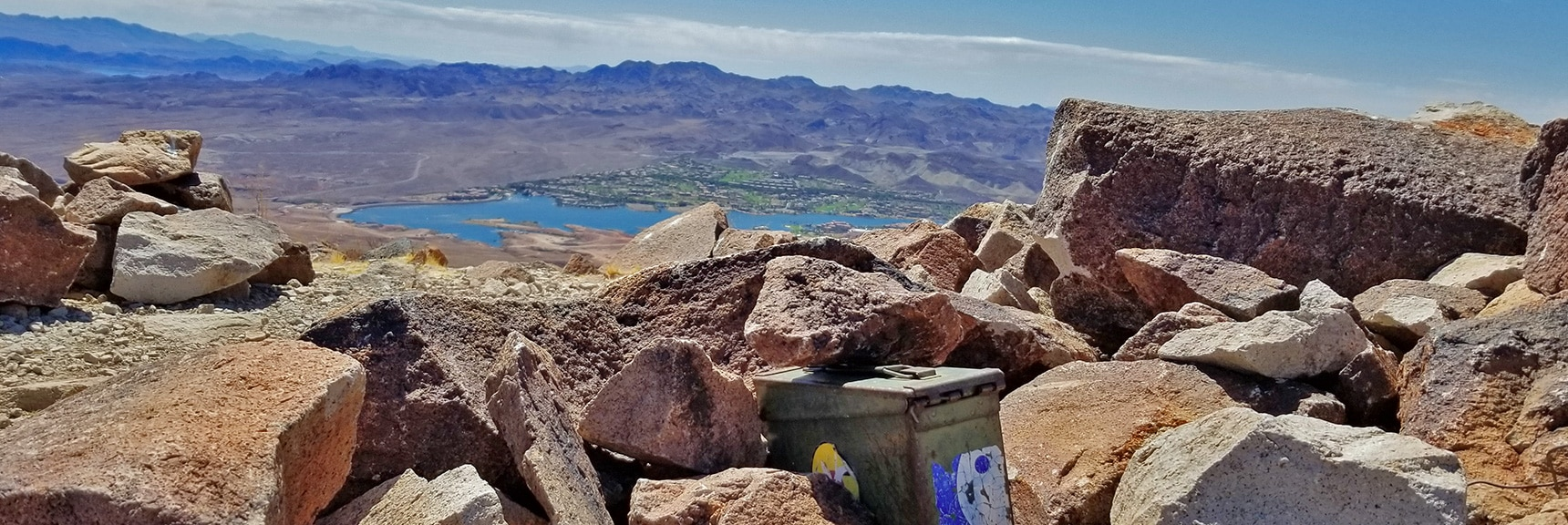Summit Box on Lava Butte. Lake Las Vegas in Background | Lava Butte | Lake Mead National Recreation Area, Nevada