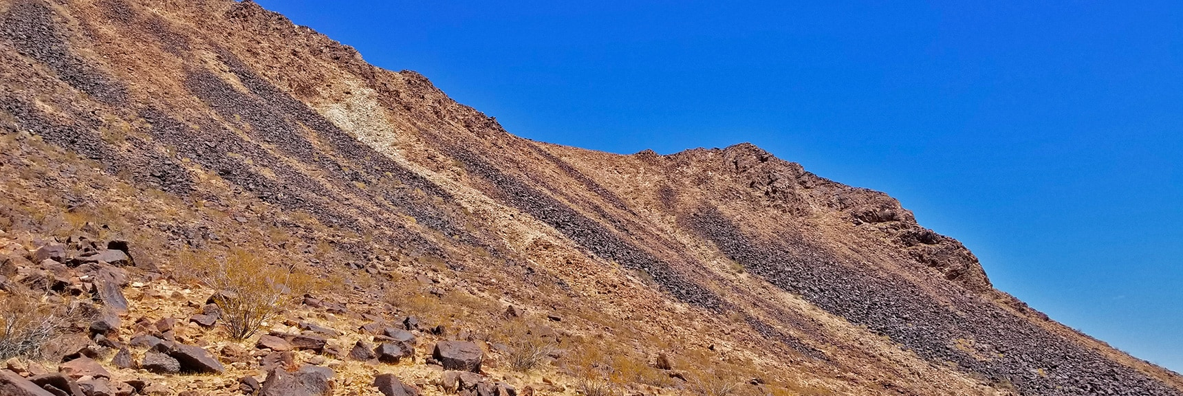 View Back Up the SW Traverse Route to the South Ridge | Lava Butte | Lake Mead National Recreation Area, Nevada