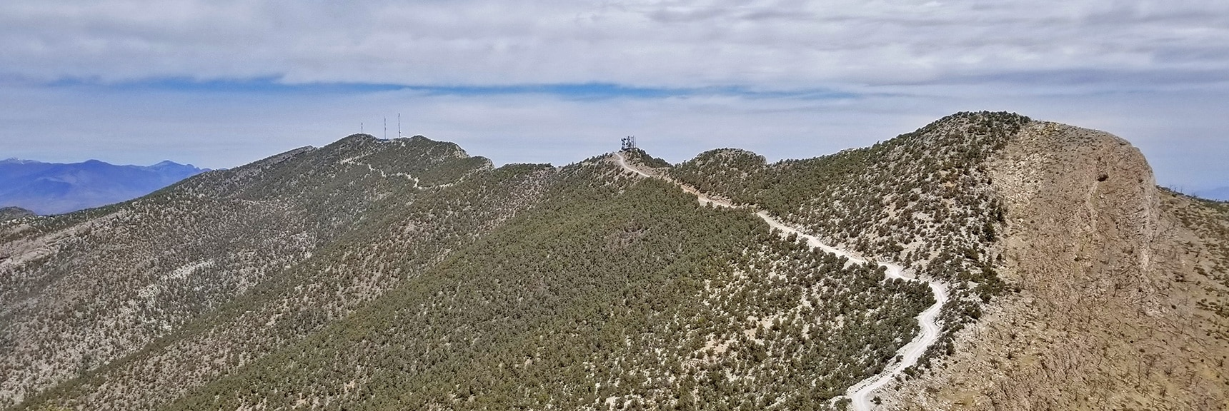 Mid-Summit, North Summit and Approach Road Viewed from the South Summit | Potosi Mountain Spring Mountains Nevada