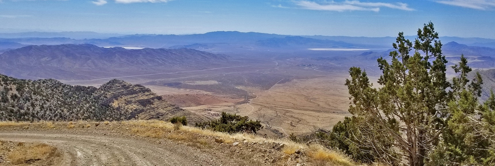 Spectacular View Back Down the Road, Valley and Mountains Beyond. | Potosi Mountain Spring Mountains Nevada