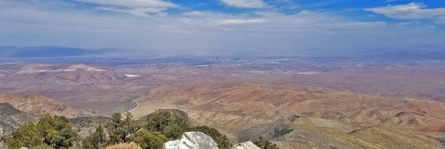 View Toward Las Vegas Strip and Beyond in the Haze on This Windy, Dusty Day. | Potosi Mountain Spring Mountains Nevada