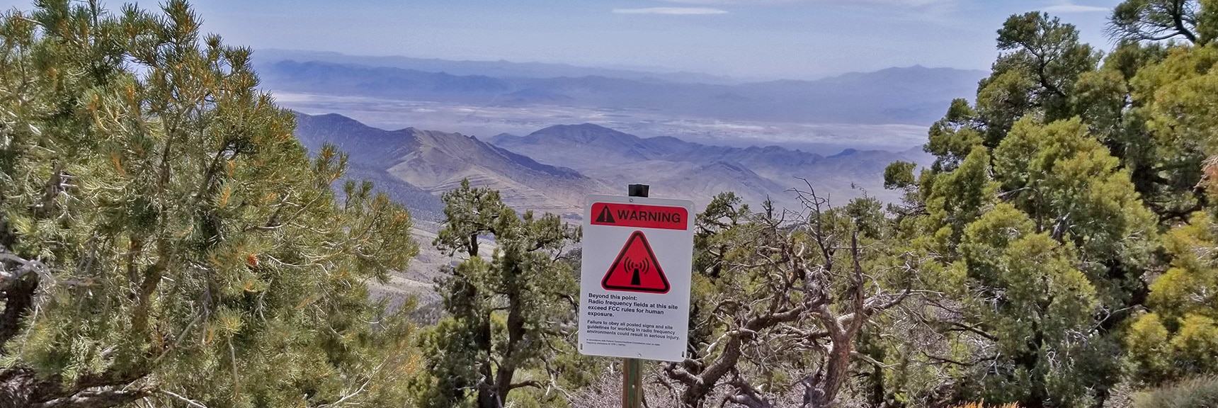 View East from the North Summit. Radio Frequency Warning: Exceeds FCC Limit for Humans! | Potosi Mountain Spring Mountains Nevada