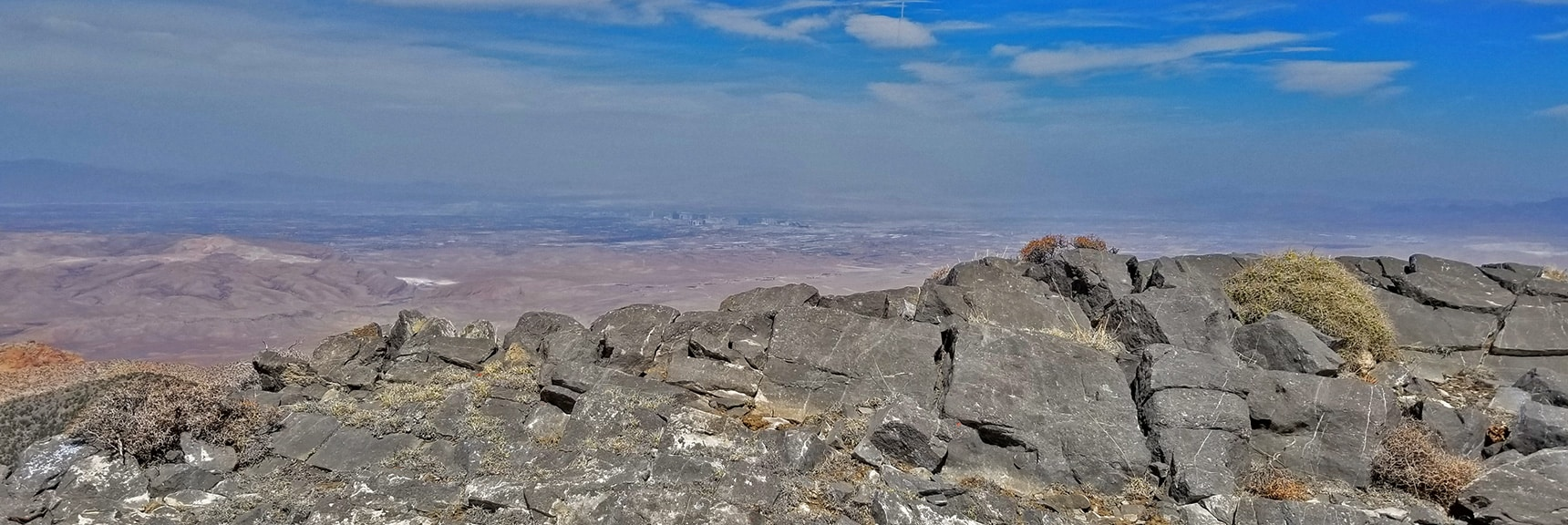 Las Vegas Strip and Beyond Viewed from the North Summit. Beautiful Limestone Surface. | Potosi Mountain Spring Mountains Nevada