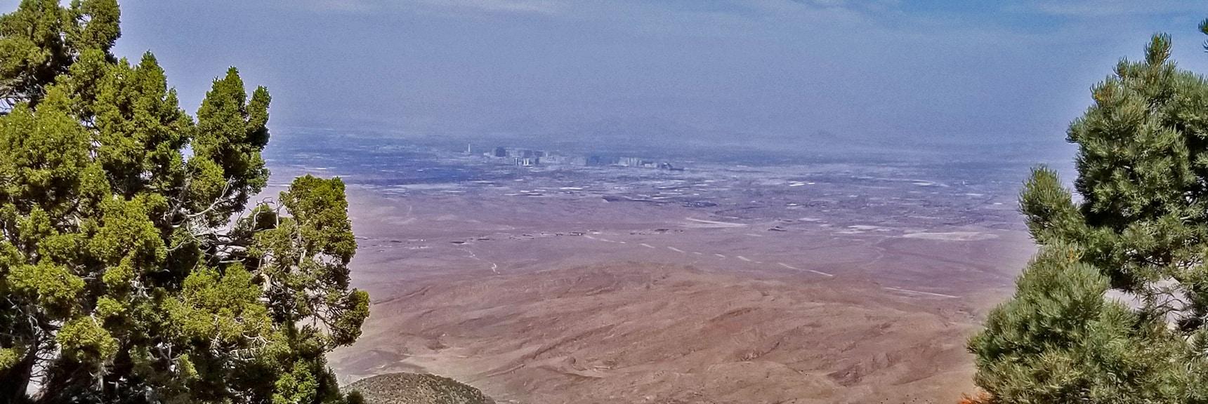 Las Vegas Strip Viewed from Potosi Mountain Road About 1/4th Mile Below the North Summit. | Potosi Mountain Spring Mountains Nevada