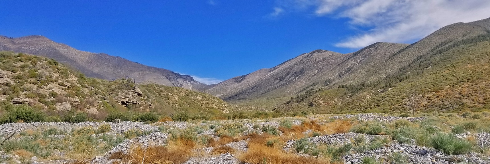 Easier Ascent as Canyon Floor Rocks Become Smaller, Less Brush | Harris Mountain from Lovell Canyon Nevada