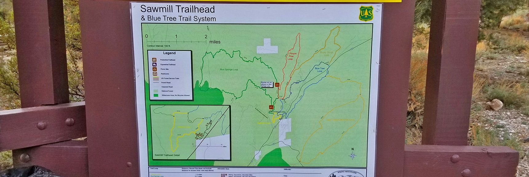 Sawmill Trailhead Trail System Display Map: Mud Springs, Pinyon Pine, Blue Tree, Rocky Gorge & Deer Creek Loops  Sawmill Trail to McFarland Peak   Spring Mountains, Nevada