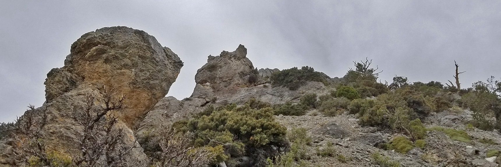Approaching the 9,235ft High Point Bluff on Ridge   Sawmill Trail to McFarland Peak   Spring Mountains, Nevada