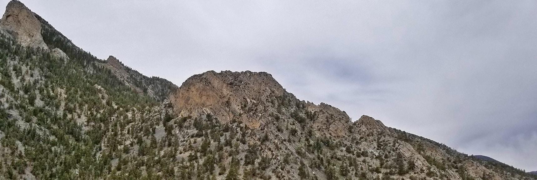 Ridge System Descending McFarland Peak Toward Bonanza Peak Viewed from 9,235ft High Point Bluff   Sawmill Trail to McFarland Peak   Spring Mountains, Nevada