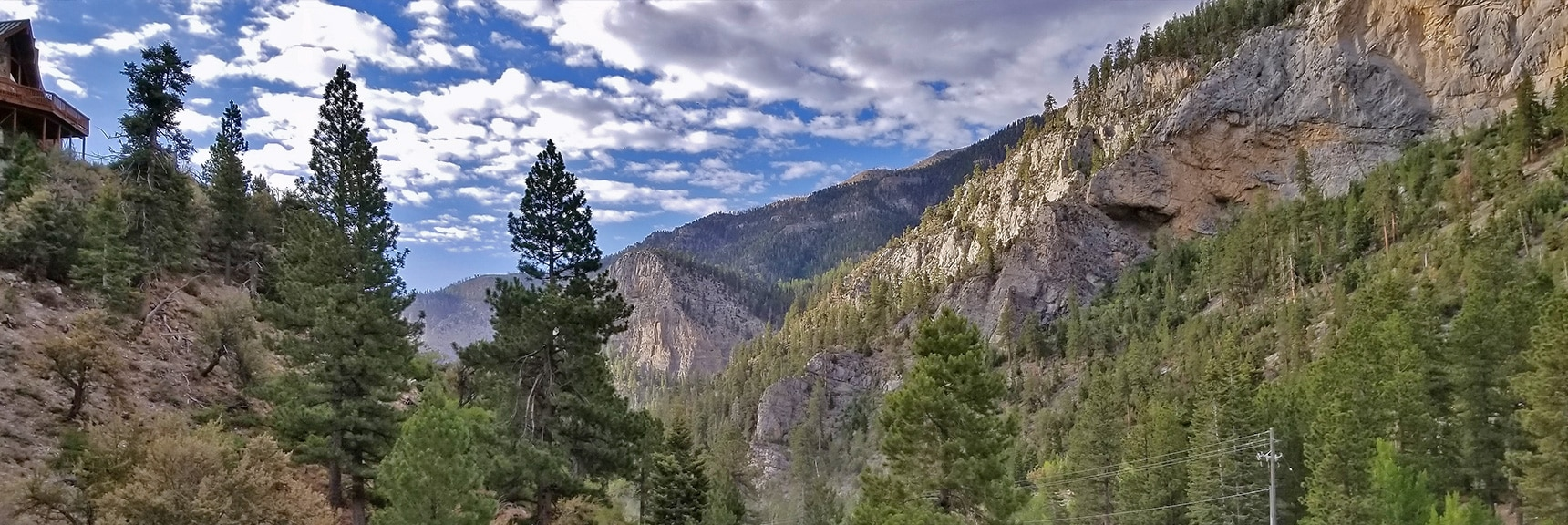 View Toward Cathedral Rock from the Trail Canyon Trailhead | Mummy Mountain NW Cliffs | Mt Charleston Wilderness | Spring Mountains, Nevada