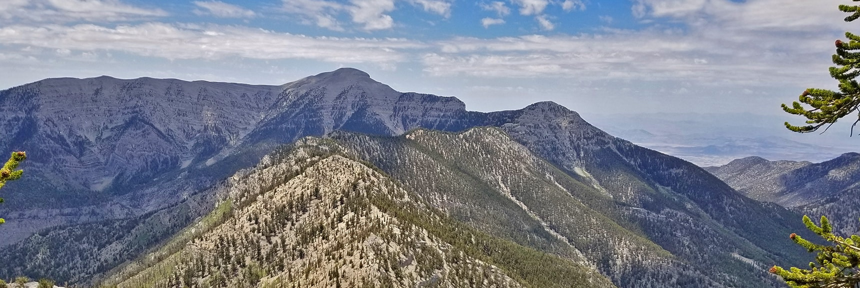 North and South Ridge of Kyle Canyon with Lee Peak and Charleston Peak in the Distance | Mummy Mountain NW Cliffs | Mt Charleston Wilderness | Spring Mountains, Nevada