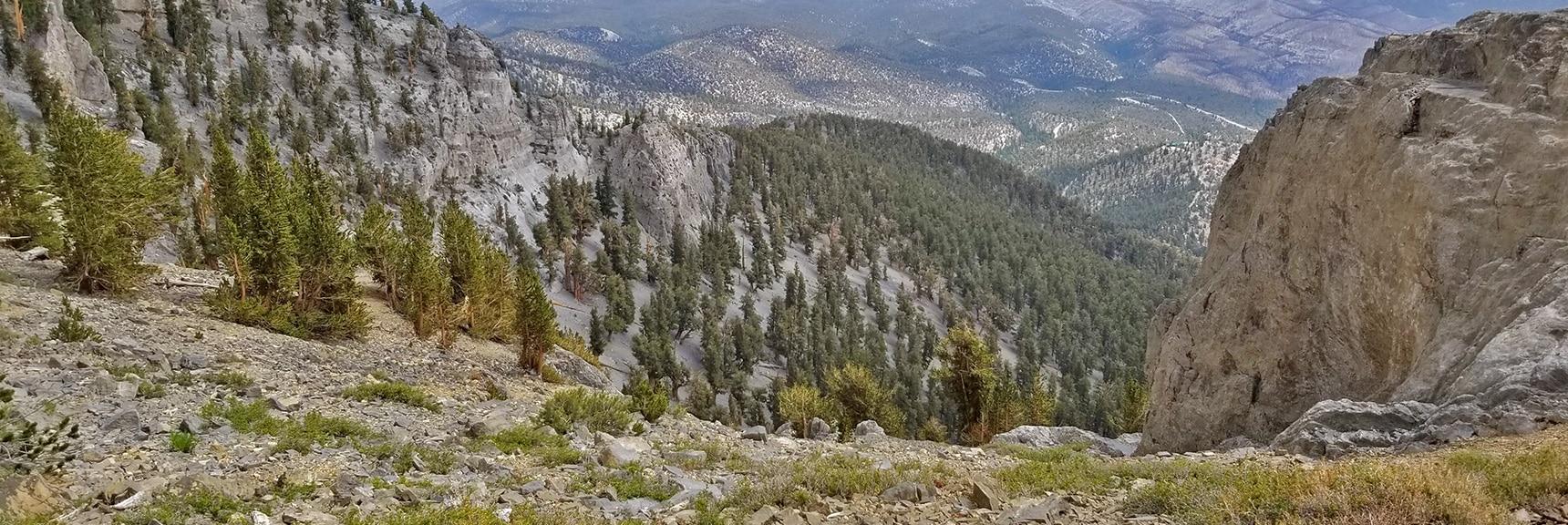 View Down Mummy Mountain's NE Cliffs | Mummy Mountain NE Cliffs Descent | Mt Charleston Wilderness | Spring Mountains, Nevada