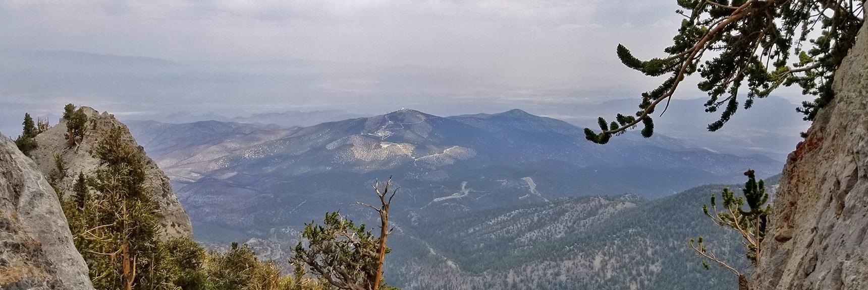 Angel Peak Framed in the Final Channel of Mummy's NE Cliff Chute | Mummy Mountain NE Cliffs Descent | Mt Charleston Wilderness | Spring Mountains, Nevada