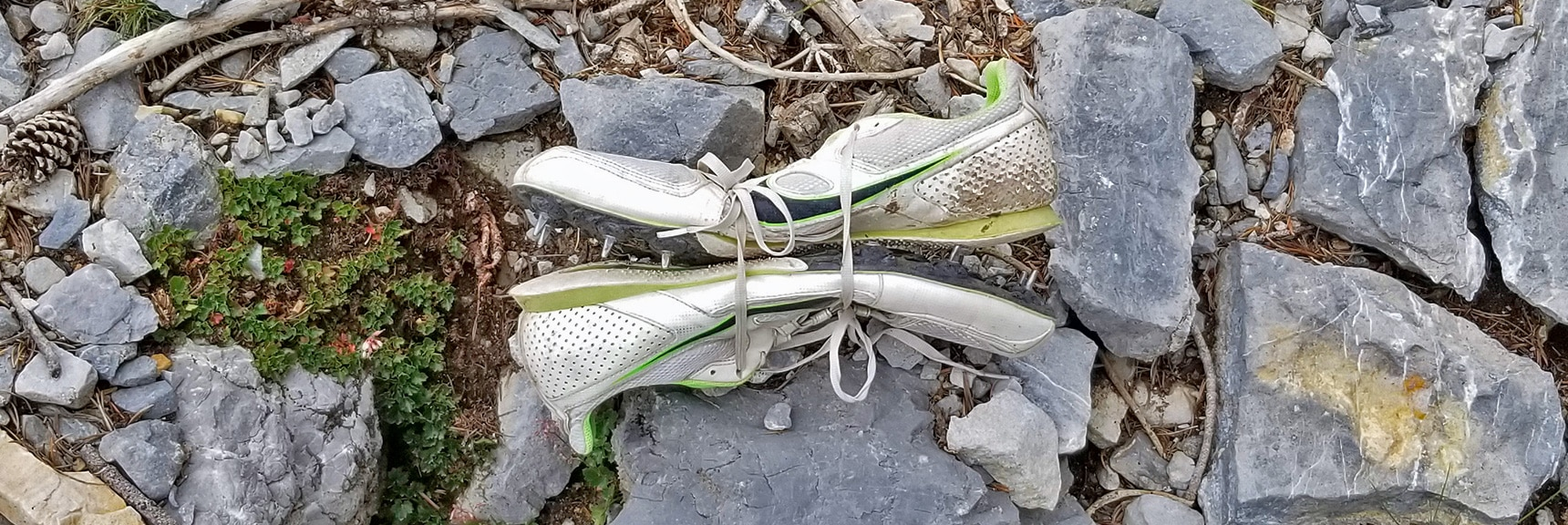 Inch Long Spiked Racing Shoes Provide Excellent Traction on Mummy's NE Avalanche Cliff Chute | Mummy Mountain NE Cliffs Descent | Mt Charleston Wilderness | Spring Mountains, Nevada