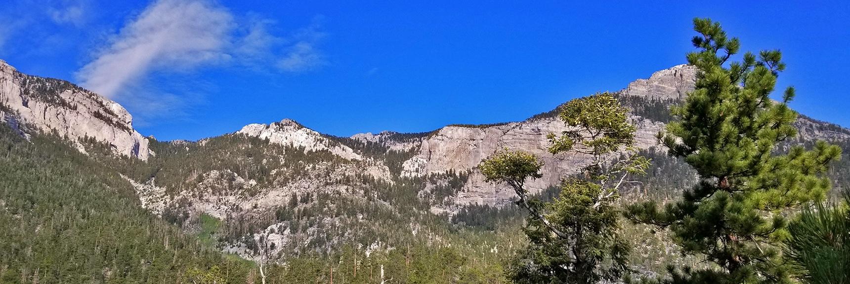 Looking Back at Mummy's Head Area for Climbing Route Ideas   Deer Creek Rd - Mummy Cliffs - Mummy Springs - Raintree - Fletcher Peak - Cougar Ridge Trail Circuit   Mt Charleston Wilderness   Spring Mountains, Nevada
