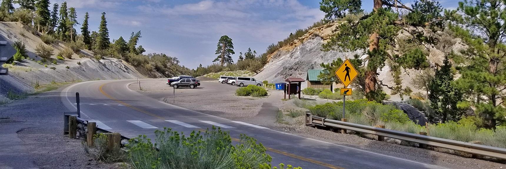 Parking on Deer Creek Road for Deer Creek Picnic Area   Deer Creek Rd - Mummy Cliffs - Mummy Springs - Raintree - Fletcher Peak - Cougar Ridge Trail Circuit   Mt Charleston Wilderness   Spring Mountains, Nevada