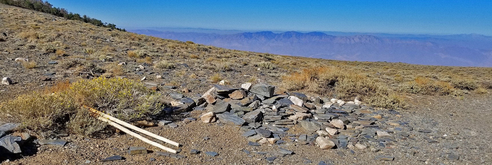 Arrival on the Upper Spine of the Panamint Range, Western Views Open Up   Telescope Peak Summit from Wildrose Charcoal Kilns Parking Area, Panamint Mountains, Death Valley National Park, California