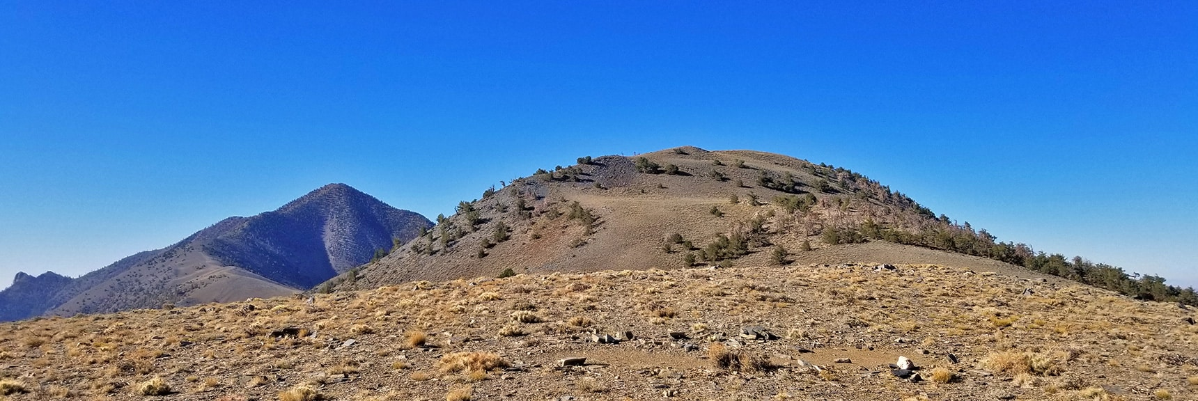Bennett Peak and Telescope Peak in View. Trail Circles Right Side of Bennett Peak   Telescope Peak Summit from Wildrose Charcoal Kilns Parking Area, Panamint Mountains, Death Valley National Park, California
