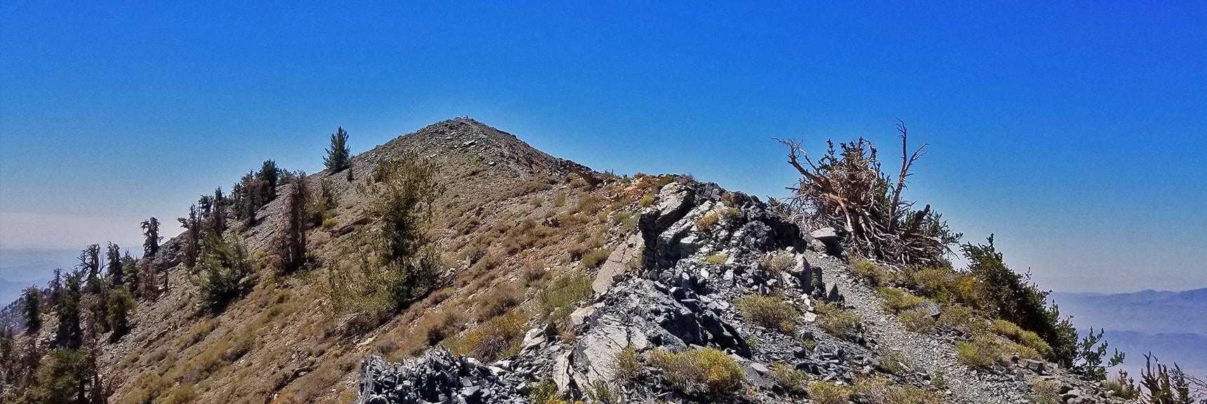 Arrival on Telescope Peak Summit Ridge. True Summit Ahead!   Telescope Peak Summit from Wildrose Charcoal Kilns Parking Area, Panamint Mountains, Death Valley National Park, California