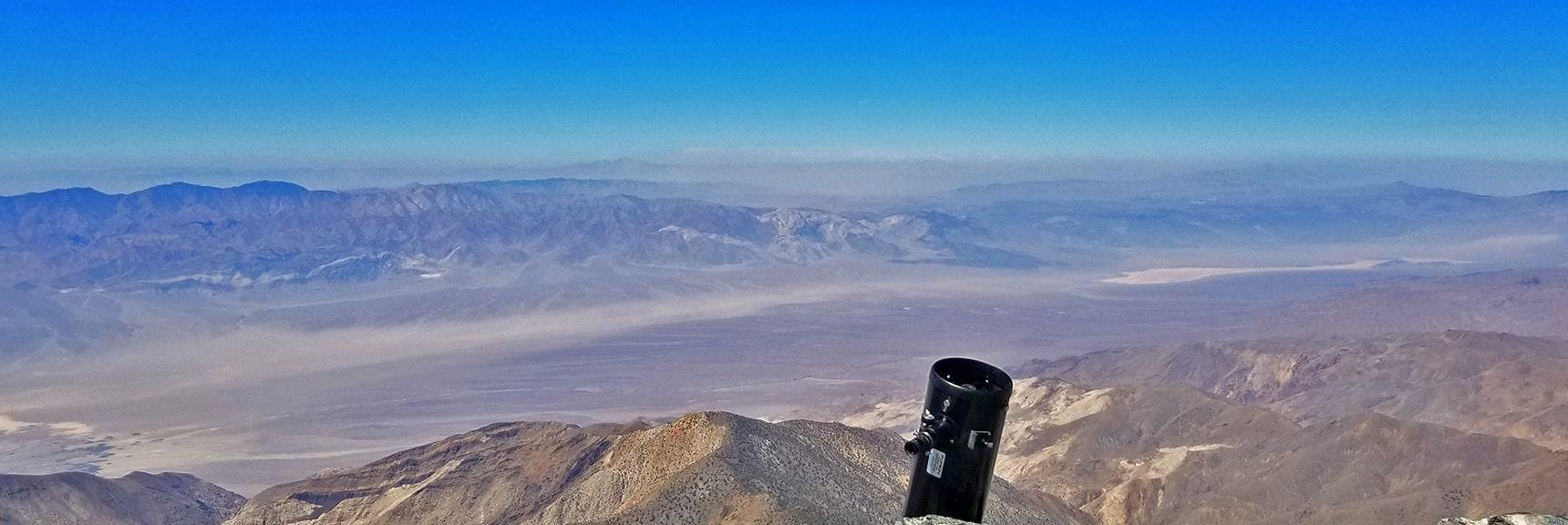 View Northwest from Telescope Peak Summit. Salten Sea Valley Below. Sierra Nevada Mts. Faint on Horizon   Telescope Peak Summit from Wildrose Charcoal Kilns Parking Area, Panamint Mountains, Death Valley National Park, California