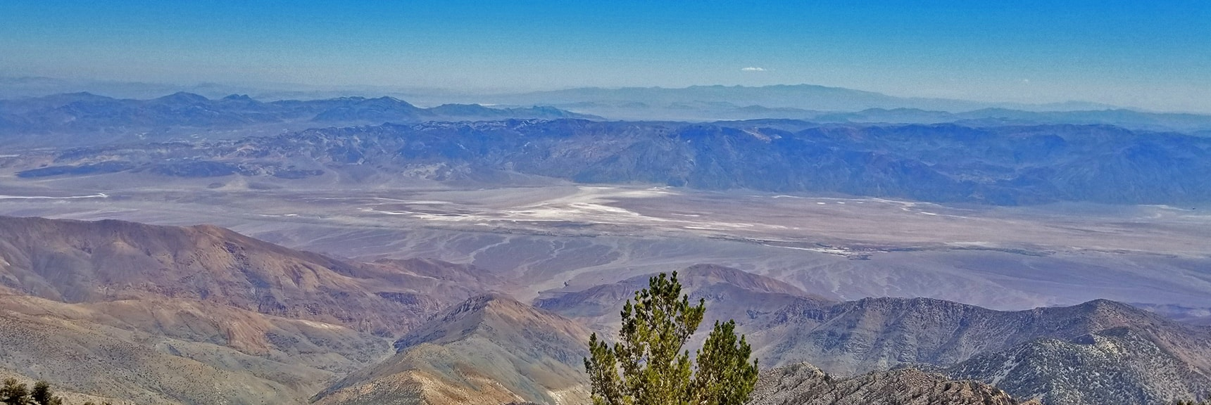 View Straight Down to Badwater Basin in Center, Mt. Charleston Wilderness Faintly in Horizon High Point   Telescope Peak Summit from Wildrose Charcoal Kilns Parking Area, Panamint Mountains, Death Valley National Park, California