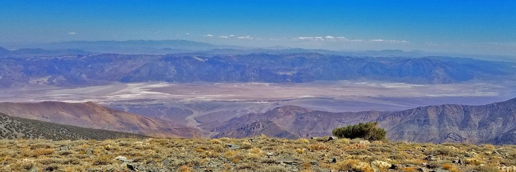 Death Valley Floor, Funeral Mountains and Mt. Charleston Wilderness from Bennett Peak Summit   Telescope Peak Summit from Wildrose Charcoal Kilns Parking Area, Panamint Mountains, Death Valley National Park, California