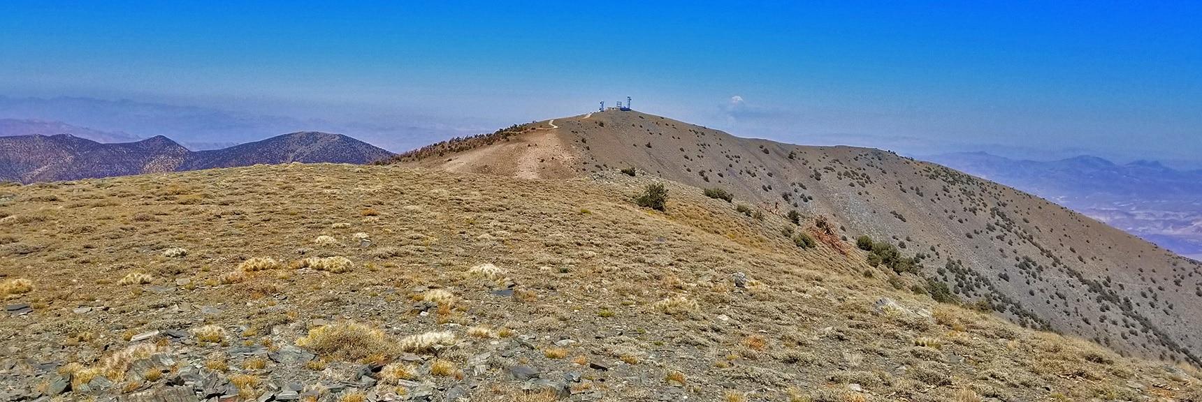 Rogers Peak Viewed from Bennett Peak Summit   Telescope Peak Summit from Wildrose Charcoal Kilns Parking Area, Panamint Mountains, Death Valley National Park, California